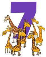 número sete e grupo de animais de girafa dos desenhos animados vetor