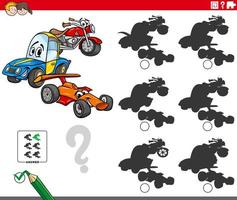 jogo educacional de sombras com personagens de veículos