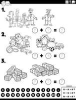 adição matemática tarefa educacional com personagens de quadrinhos vetor