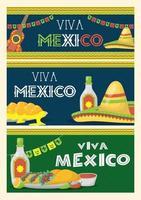 conjunto de banner de celebração viva méxico vetor