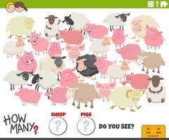 quantas ovelhas e porcos tarefa educacional para crianças vetor