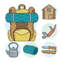 mala de viagem com pacote de linha de camping e ícones de preenchimento vetor