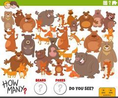 quantos ursos e raposas tarefa educacional para crianças vetor