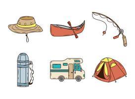pacote de seis linhas de acampamento e ícones de preenchimento vetor