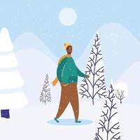 jovem afro vestindo roupas de inverno em personagem de paisagem de neve vetor