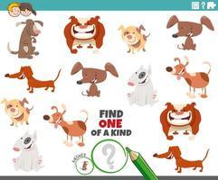 jogo único para crianças com cães e cachorros vetor