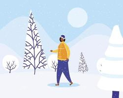 jovem afro vestindo roupas de inverno em neve vetor