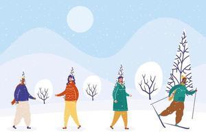grupo de pessoas inter-raciais vestindo roupas de inverno e esquiando vetor