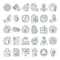 conjunto de ícones de linha eco e terra vetor