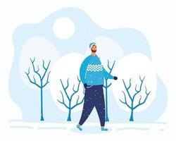 jovem barbudo vestindo roupas de inverno no personagem de neve vetor