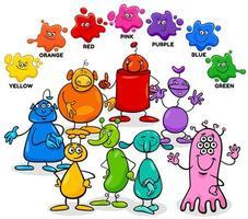 cores básicas com grupo de personagens alienígenas vetor
