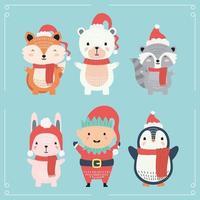 animal fofo vestindo personagens de roupas de natal
