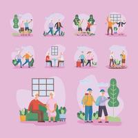 grupo de dez idosos ativos casais personagens vetor