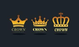 pacote de logotipos da silhueta real de coroas douradas vetor