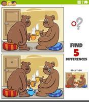 diferenças jogo educativo para crianças com ursos bebendo chá