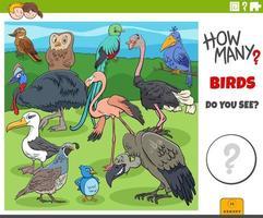 jogo de desenho animado educacional de quantos pássaros para crianças vetor