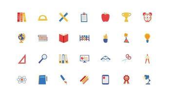 conjunto de ícones de escola e educação vetor
