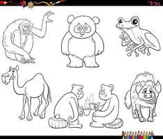 personagens animais de desenho animado definir página de livro para colorir vetor