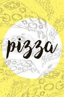 padrão desenhado à mão de pizza fast food e letras vetor