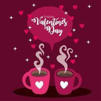 cartão de feliz dia dos namorados com xícaras de café