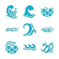 ondas e conjunto de ícones de água vetor