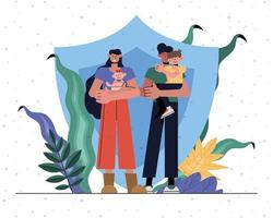 conceito de proteção familiar com escudo vetor