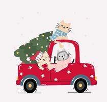 gatos fofos e felizes com árvore de natal em um caminhão vermelho vetor