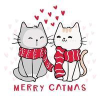 gatos fofos e felizes com lenços vermelhos de inverno