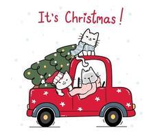 gatos fofos e felizes com árvore de natal no caminhão vermelho vetor