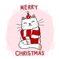 gato bonito dos desenhos animados com lenço vermelho e chapéu de Papai Noel de inverno vetor