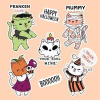 conjunto de gatos fofos e engraçados de halloween vetor