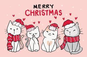 grupo de gatinhos com chapéus e lenços vermelhos de natal vetor