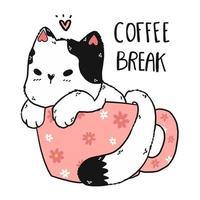 gato branco fofo em uma xícara de café vetor