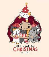 menina bonito dos desenhos animados abraçando alguns gatos para a celebração do natal