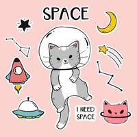 gato astronauta fofo com ícones do espaço vetor