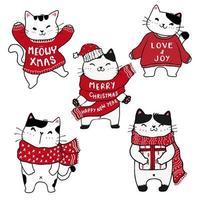 conjunto de gatos bonitos desenhados à mão de natal