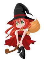 bruxa fofa dos desenhos animados vetor