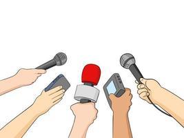 ilustração de cartoon de jornalistas