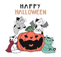 gatos fofos fantasiados para a celebração do halloween vetor