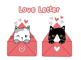 gatos preto e branco dos namorados com cartas de amor vetor