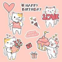 conjunto de gatos fofos e engraçados de aniversário vetor