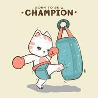 gato fofo chutando boxe um saco de areia e nascido para ser um campeão lettering
