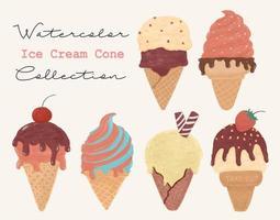 Conjunto de casquinha de sorvete estilo vintage vetor