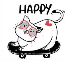gato branco feliz fofo em um skate vetor