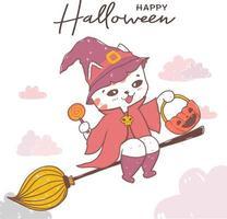 gato fofo de halloween em uma vassoura