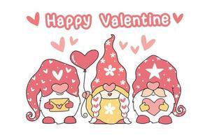 gnomos fofos com um balão em forma de coração e cartas de amor