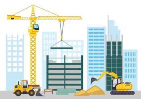 paisagem plana do canteiro de obras, construindo uma casa e um apartamento. vetor