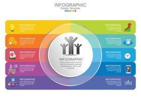 Elementos do gráfico de infográficos de negócios de 10 etapas vetor