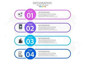 modelo de infográfico de vetor com quatro opções e ícones.