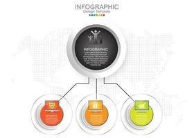 modelo de infográfico de vetor com três opções e ícones.